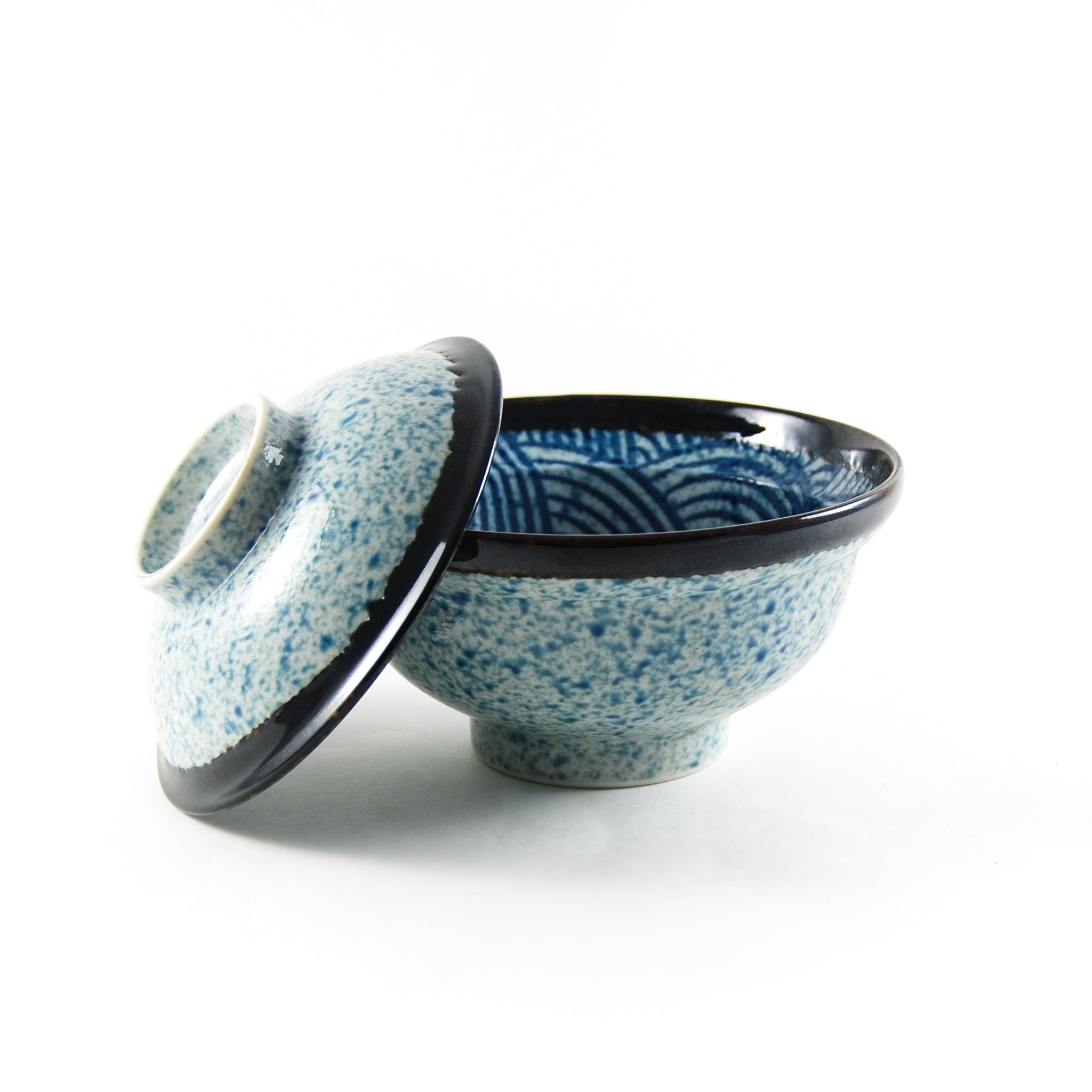 Kiji Stoneware & Ceramics Blue Wave Covered Bowl Tableware Japanese Tableware