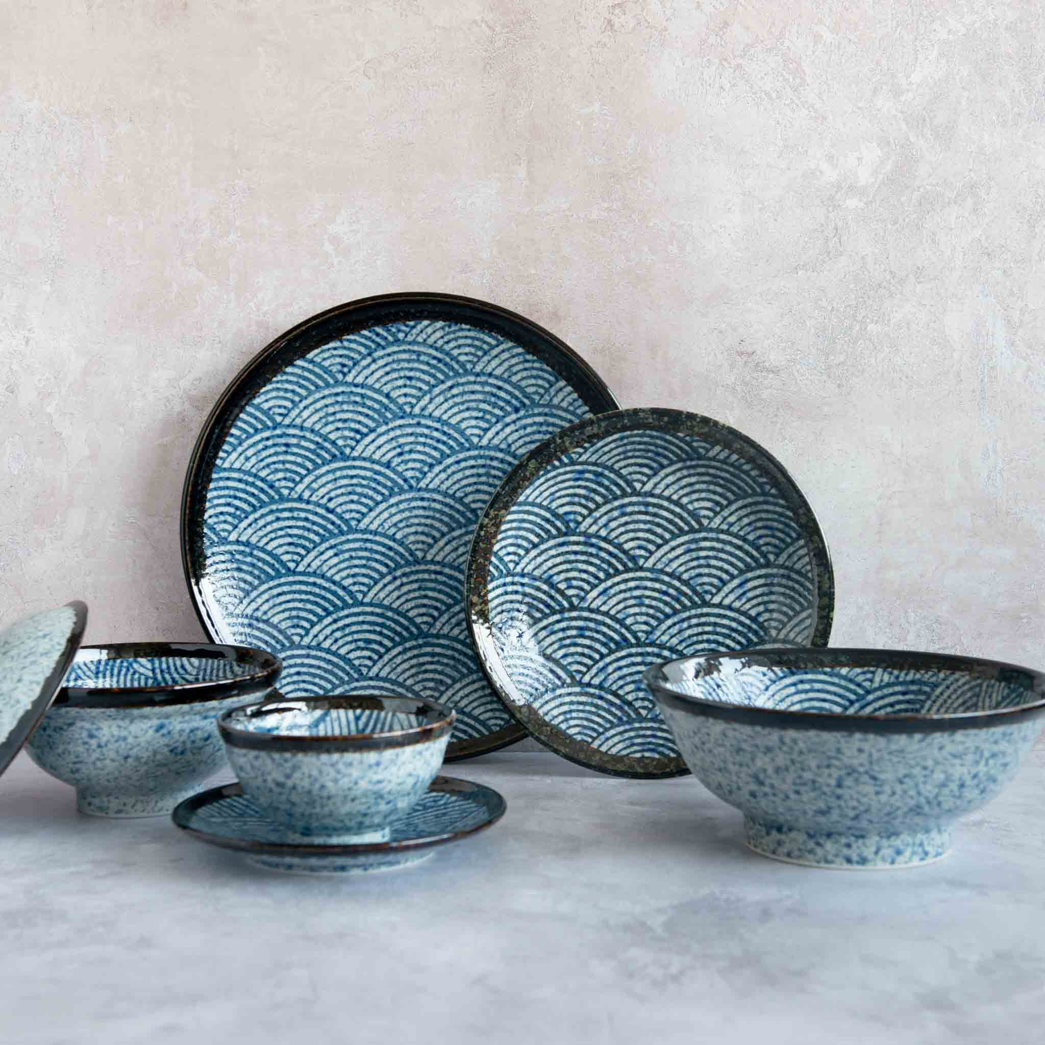 Kiji Stoneware & Ceramics Blue Wave Medium Plate Tableware Japanese Tableware