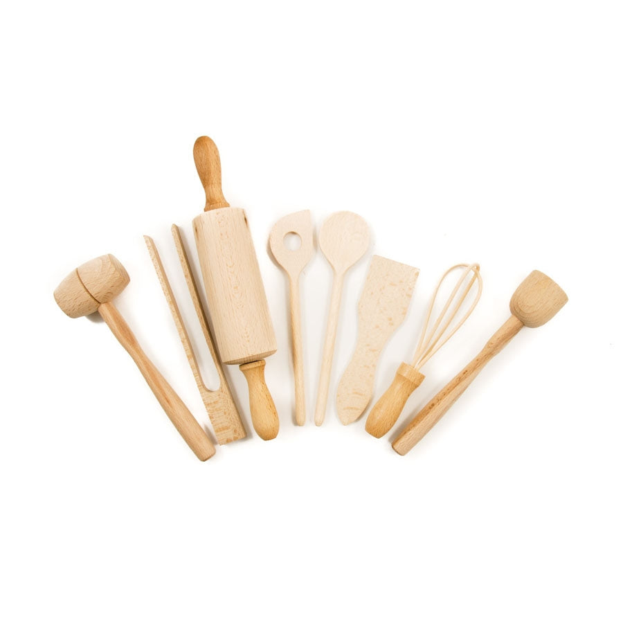 Children's Wooden Kitchen Utensil Set