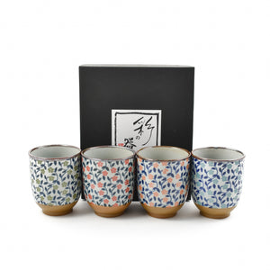 Colourful Japanese Flower Tea Cup Set