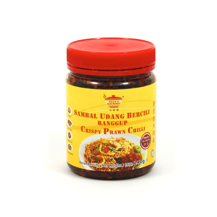 Tean's Gourmet Crispy Prawn Chilli Sambal 240g Ingredients Sauces & Condiments Asian Sauces & Condiments Southeast Asian Food