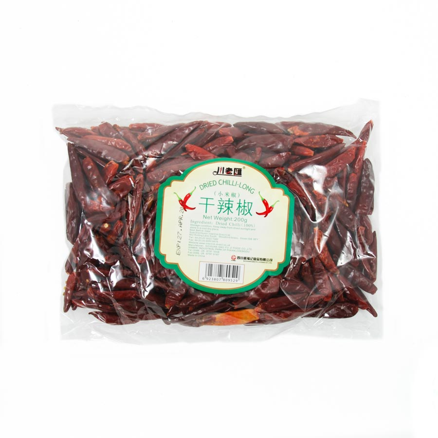Sichuan Gao Fu Ji Food Co Sichuan Long Dried Chilli 200g Ingredients Herbs & Spices Dried Chillies Chinese Food