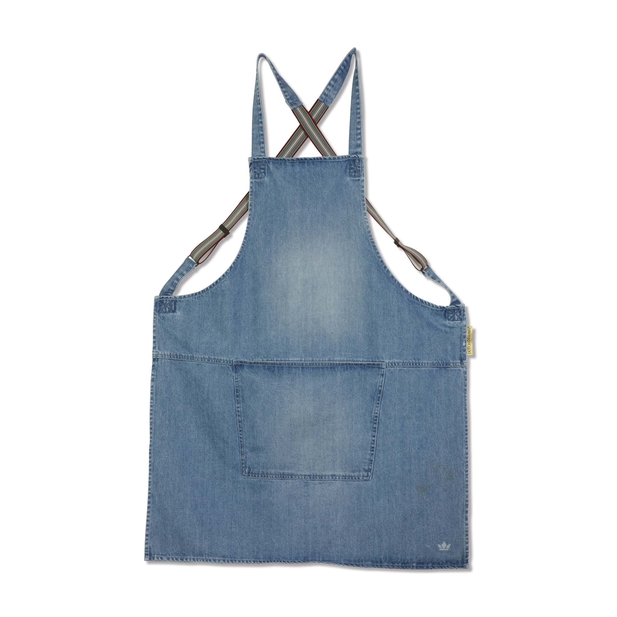 Dutchdeluxes Denim Suspender Apron in Blue Cookware Kitchen Clothing