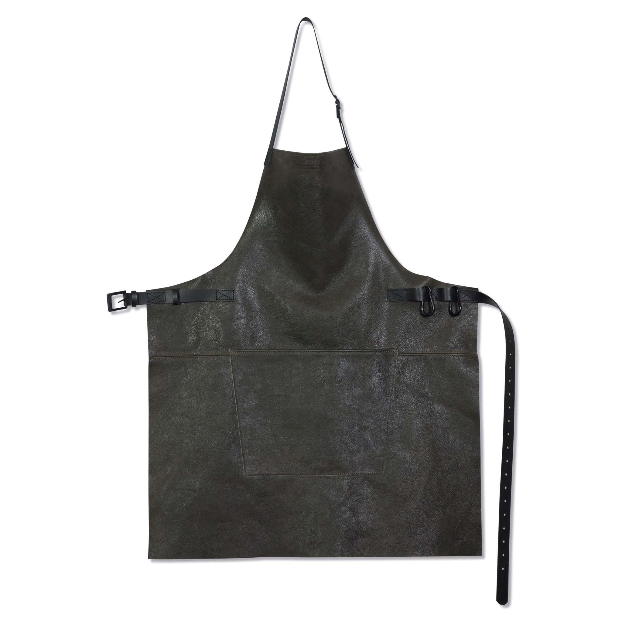 Dutchdeluxes Leather BBQ Apron in Vintage Grey Cookware Kitchen Clothing