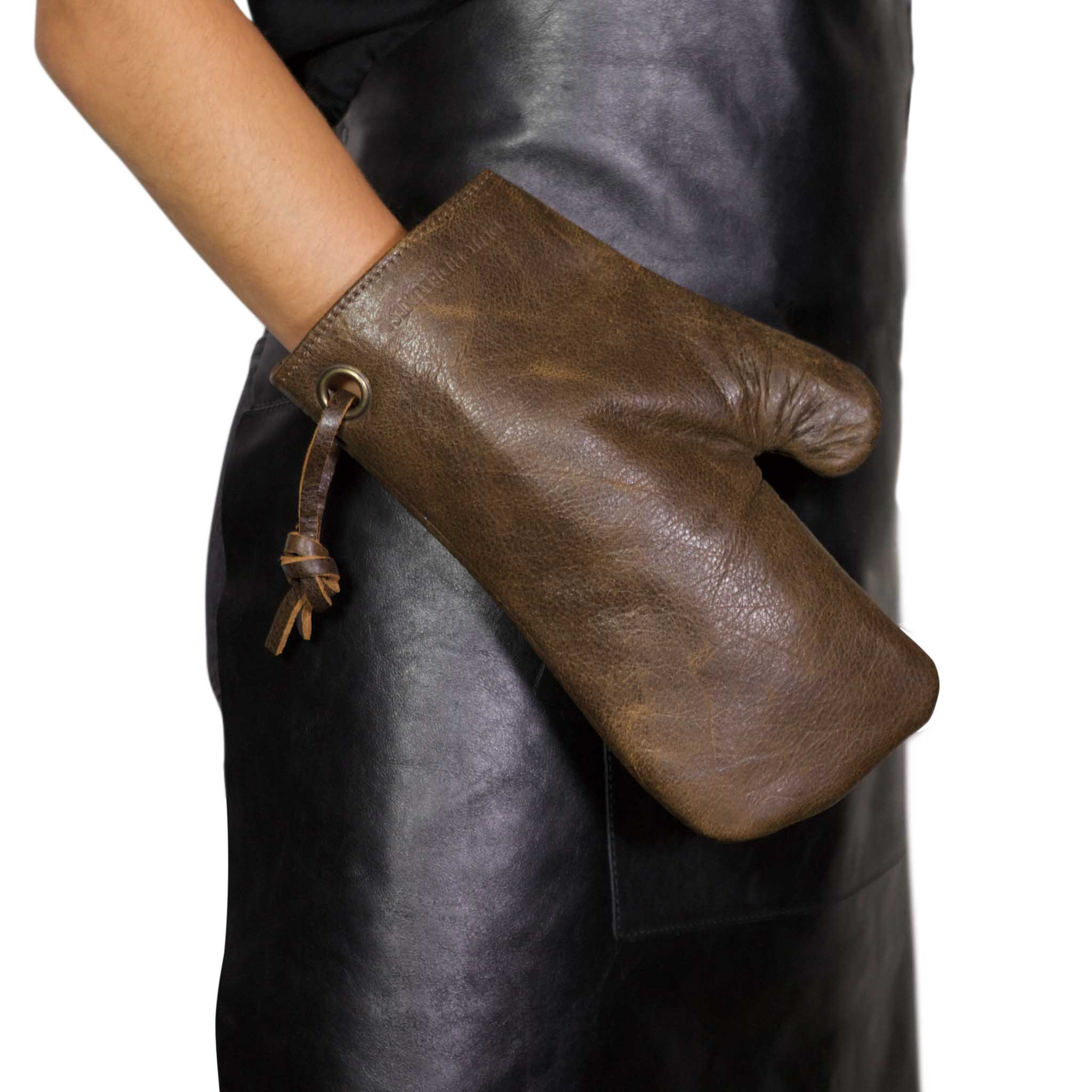 Dutchdeluxes Leather Oven Glove in Vintage Brown Cookware Kitchen Clothing Hand
