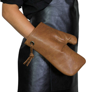 Dutchdeluxes Leather Oven Glove in Vintage Camel