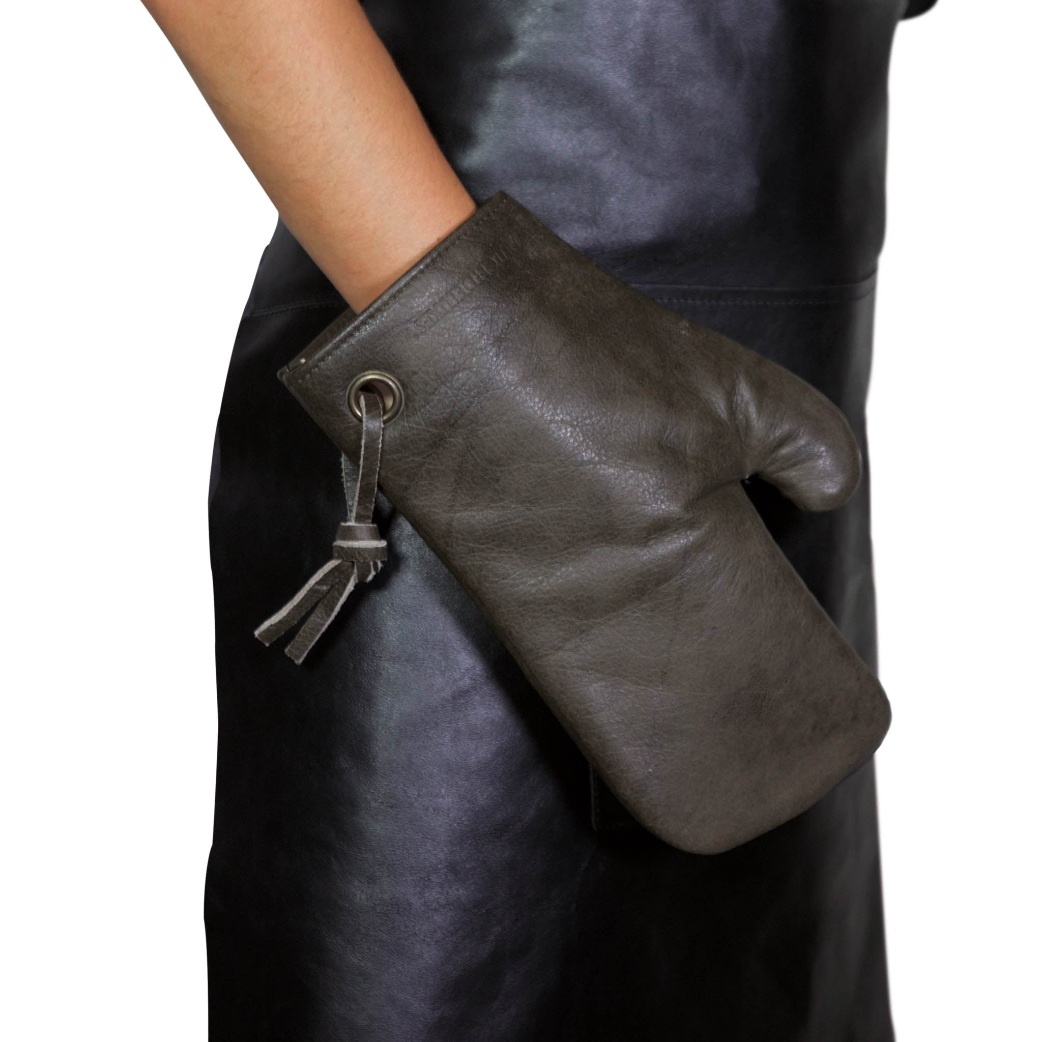Dutchdeluxes Leather Oven Glove in Vintage Grey Cookware Kitchen Clothing Hand