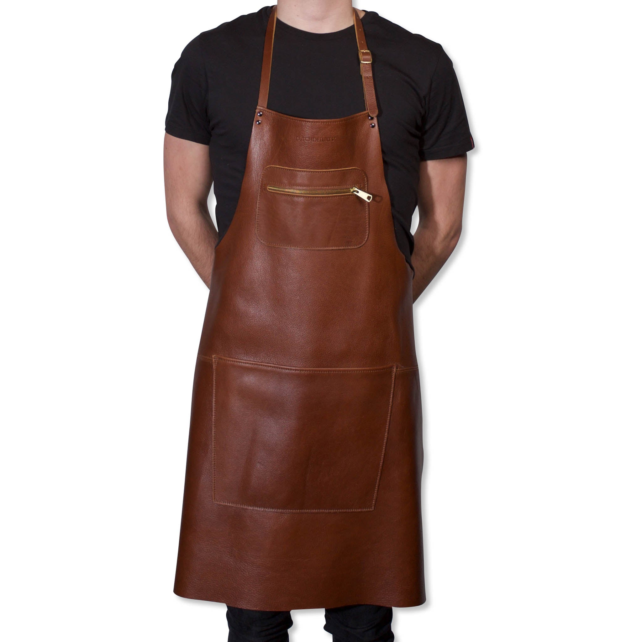 Dutchdeluxes Leather Zipper Apron in Classic Brown