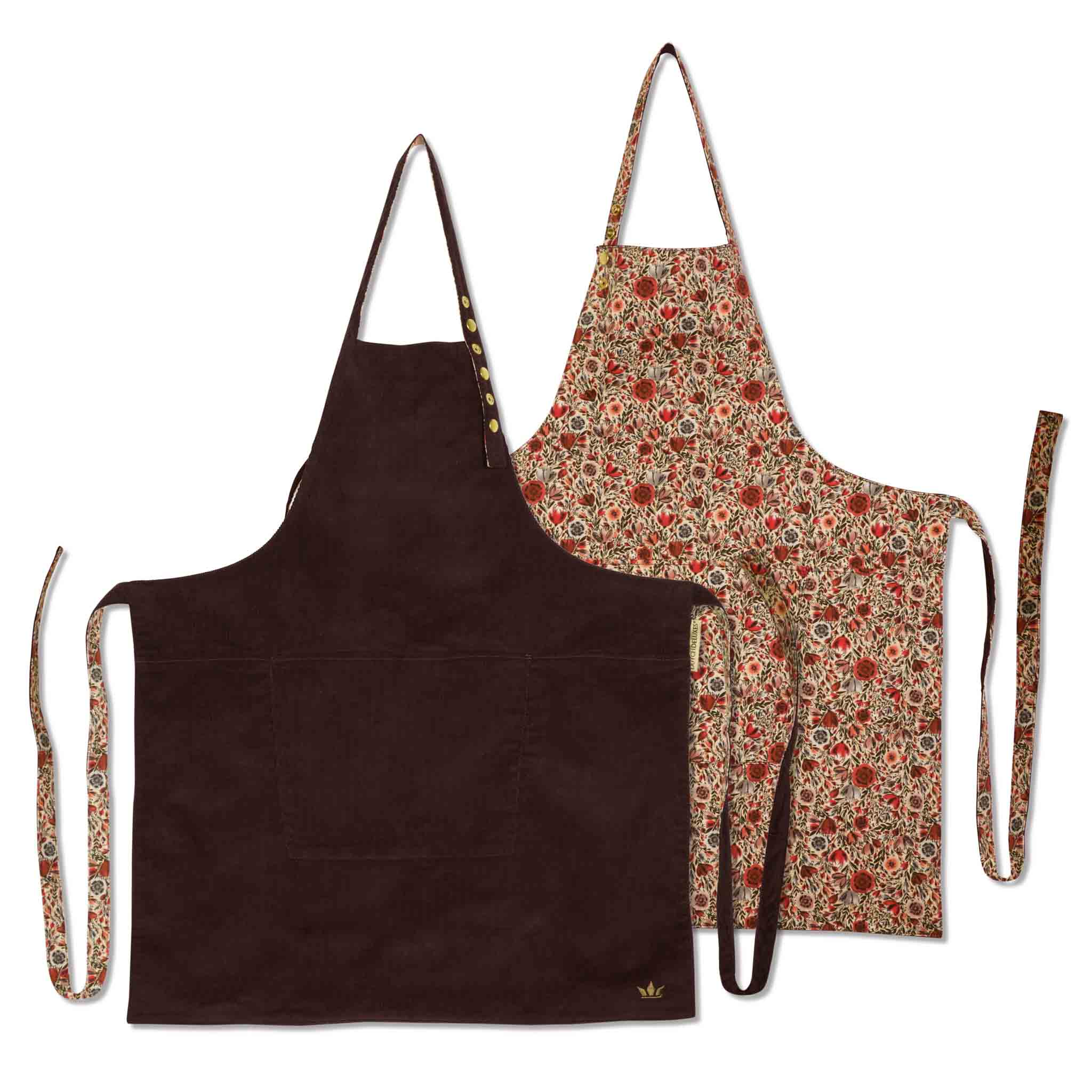 Dutchdeluxes Reversible Apron - Purple & Flower Field Cookware Kitchen Clothing