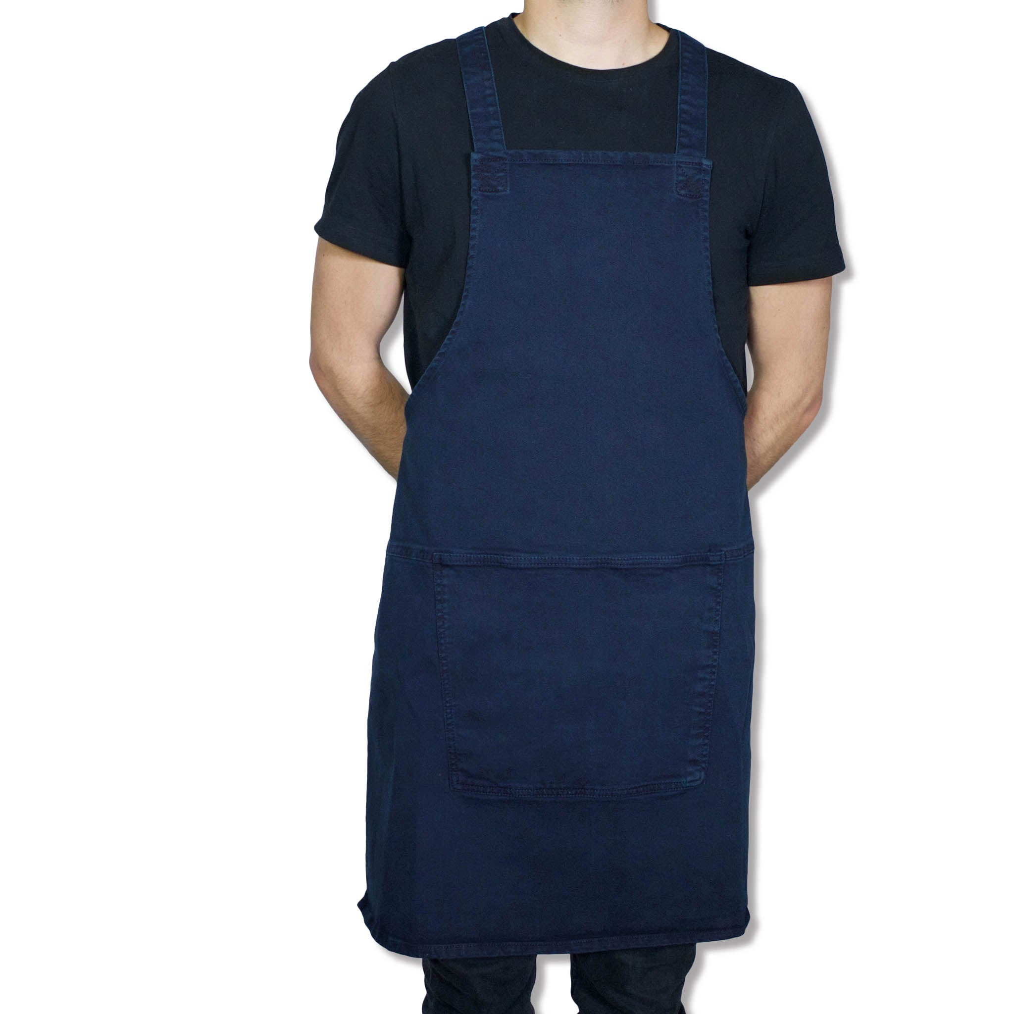 Dutchdeluxes Canvas Suspender Apron in Dark Blue Cookware Kitchen Clothing Male Model