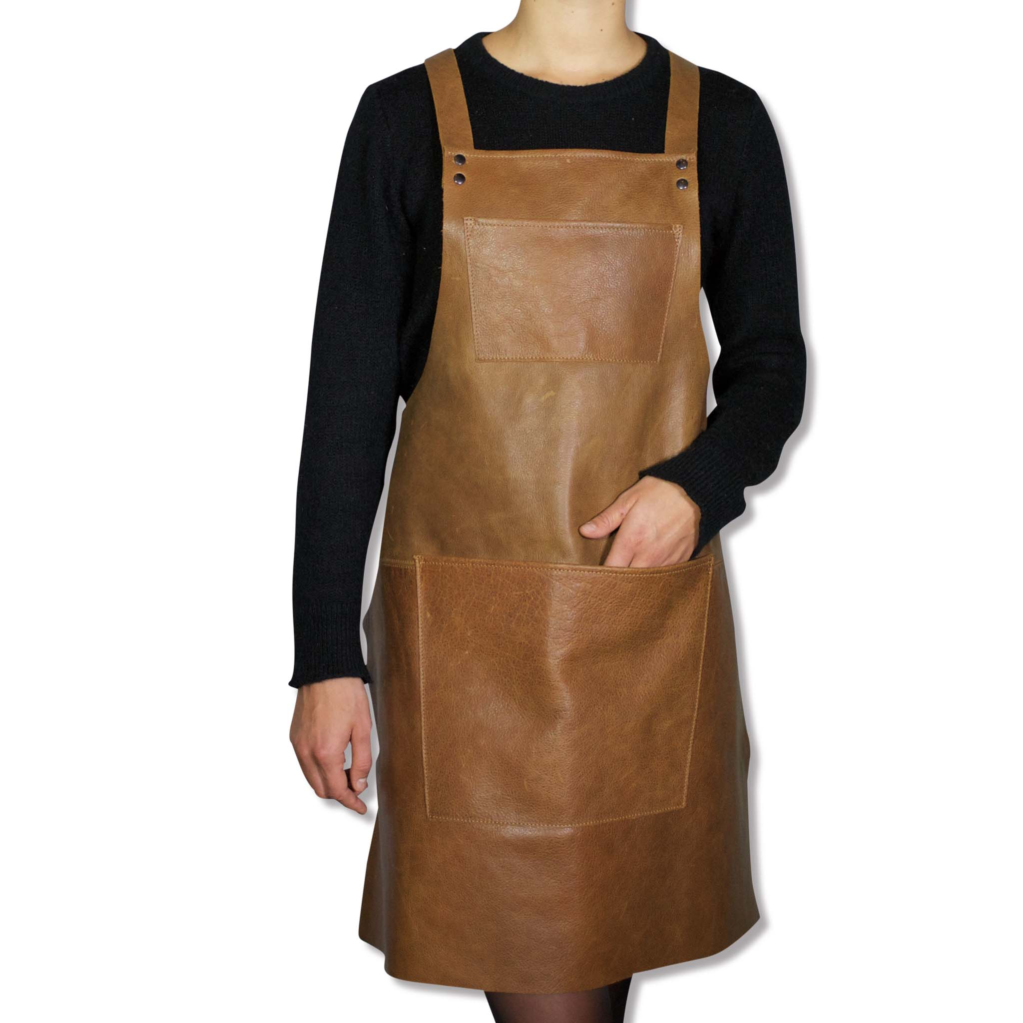 Dutchdeluxes Leather Suspender Apron in Vintage Camel Cookware Kitchen Clothing