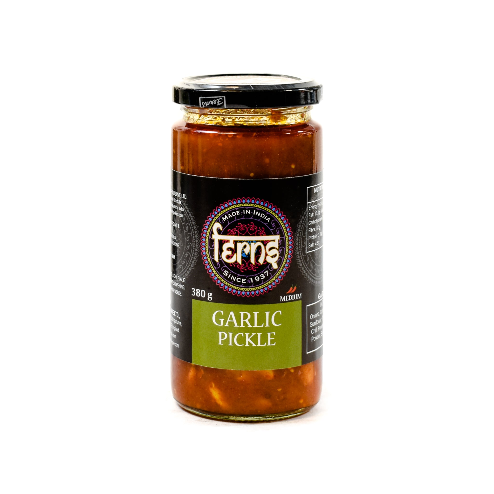 Ferns' Garlic Pickle 380g Ingredients Sauces & Condiments Asian Sauces & Condiments Indian Food