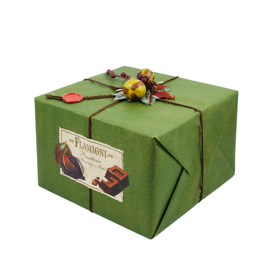Flamigni Sugar Iced Dark Chocolate & Fig Panettone 1kg Ingredients Chocolate Bars & Confectionery Italian Food Panettone & Pandoro