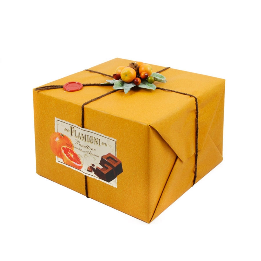 Flamigni Sugar Iced Dark Chocolate & Orange Panettone 1kg Ingredients Chocolate Bars & Confectionery Italian Food Panettone & Pandoro