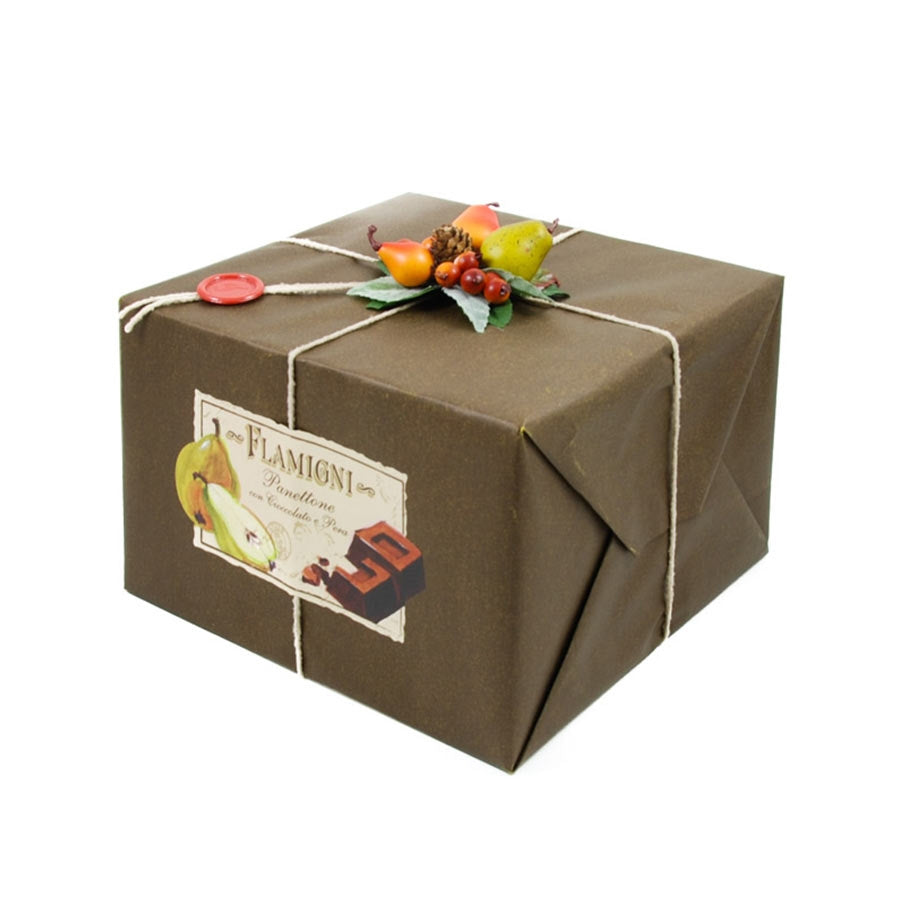 Flamigni Sugar Iced Dark Chocolate & Pear Panettone 1kg Ingredients Chocolate Bars & Confectionery Italian Food Panettone & Pandoro
