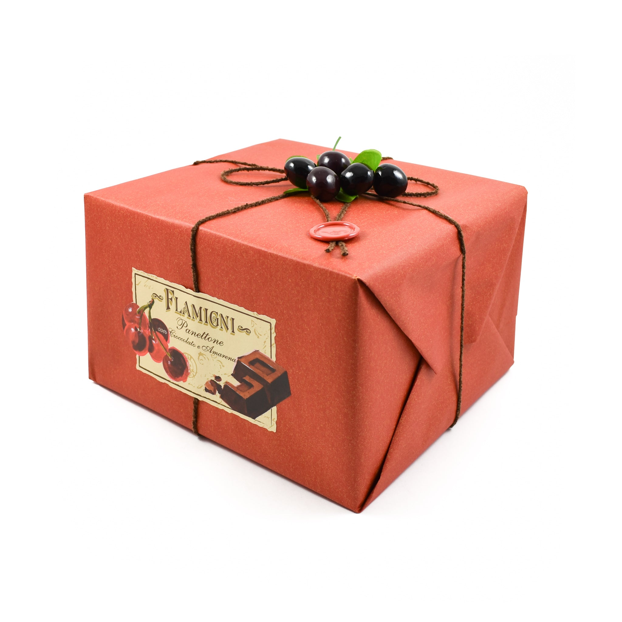 Flamigni Dark Chocolate & Amarena Cherry Panettone 1kg Ingredients Chocolate Bars & Confectionery Italian Food Panettone & Pandoro