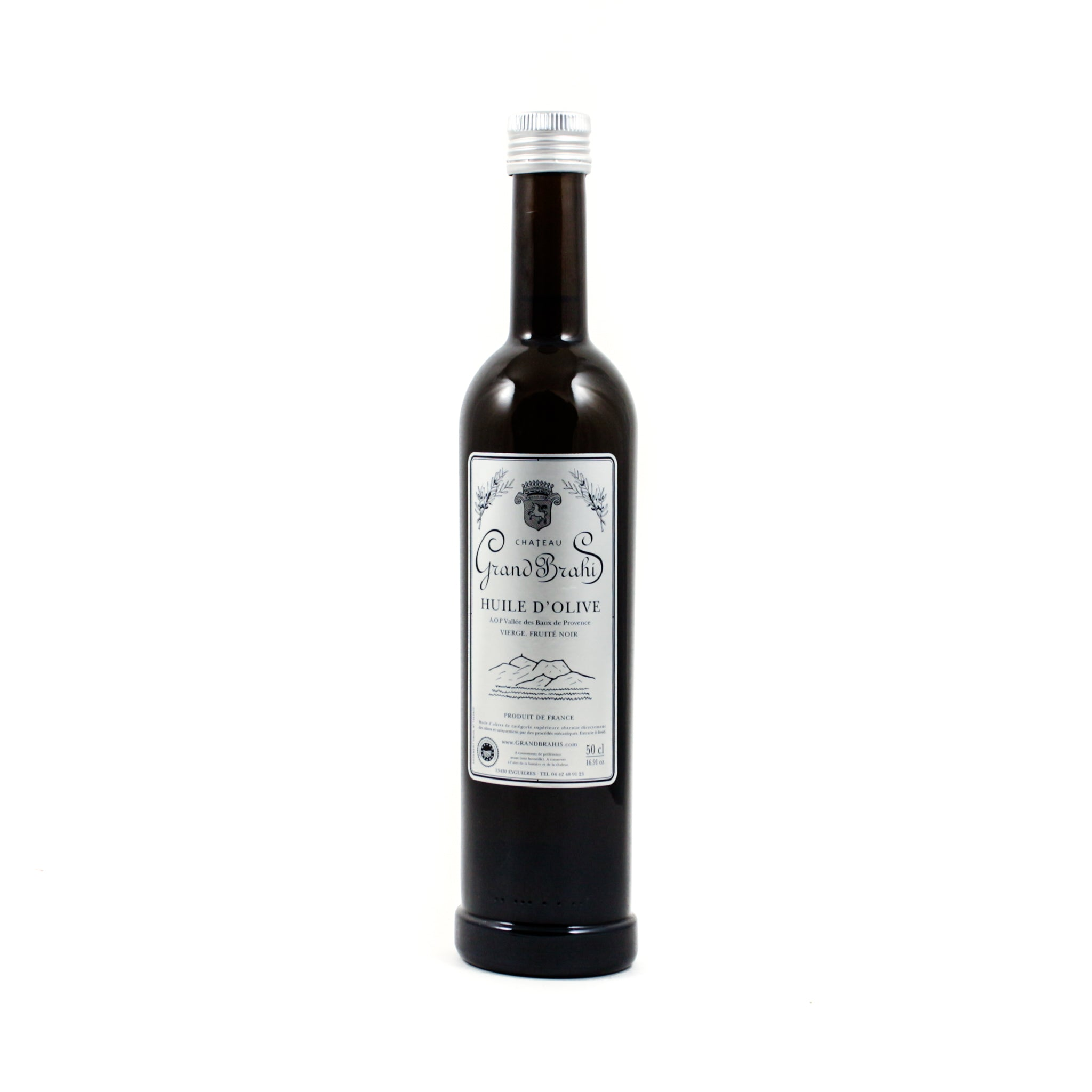 Grand Brahis Noir AOP Vallee des Baux de Provence Extra Virgin Olive Oil 500ml Ingredients Oils & Vinegars French Food