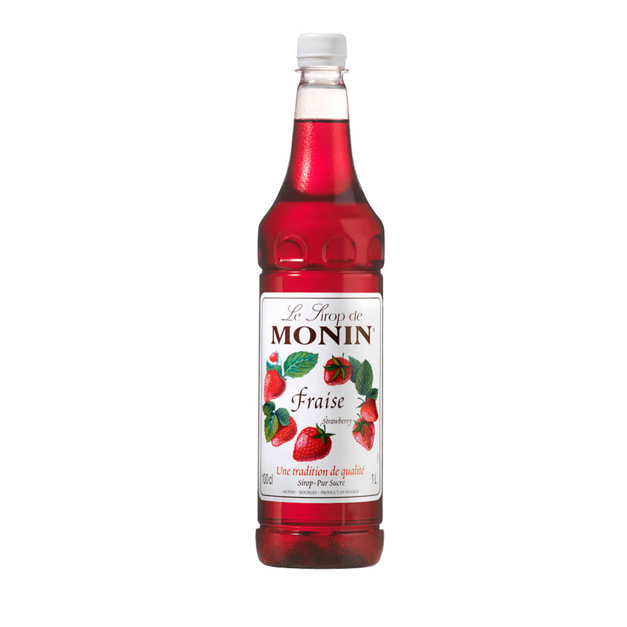 Monin Strawberry Syrup 1 ltr 1 litre Ingredients Drinks Syrups & Concentrates French Food