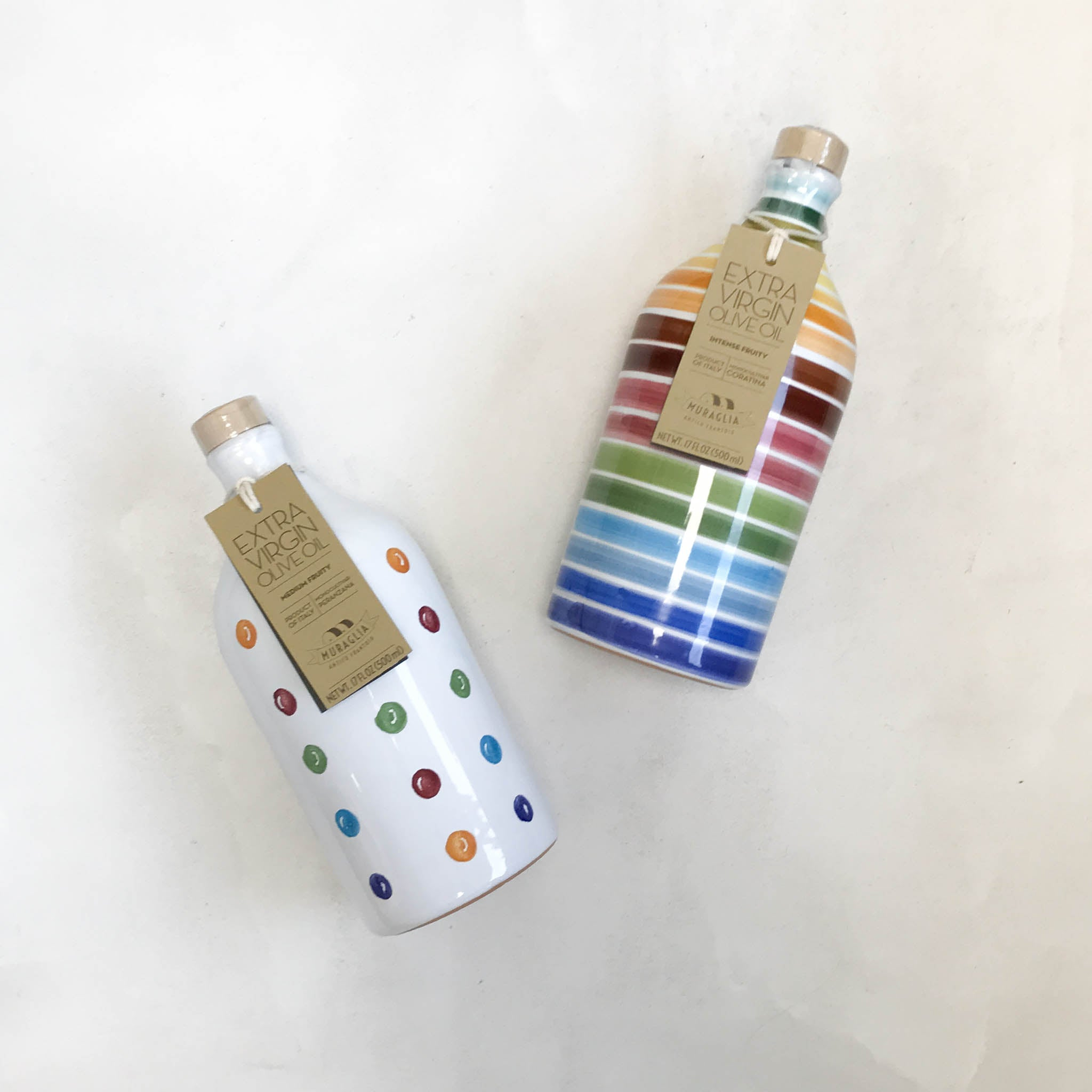 Medium Fruity Extra Virgin Olive Oil in Polka Dot Terracotta Bottle