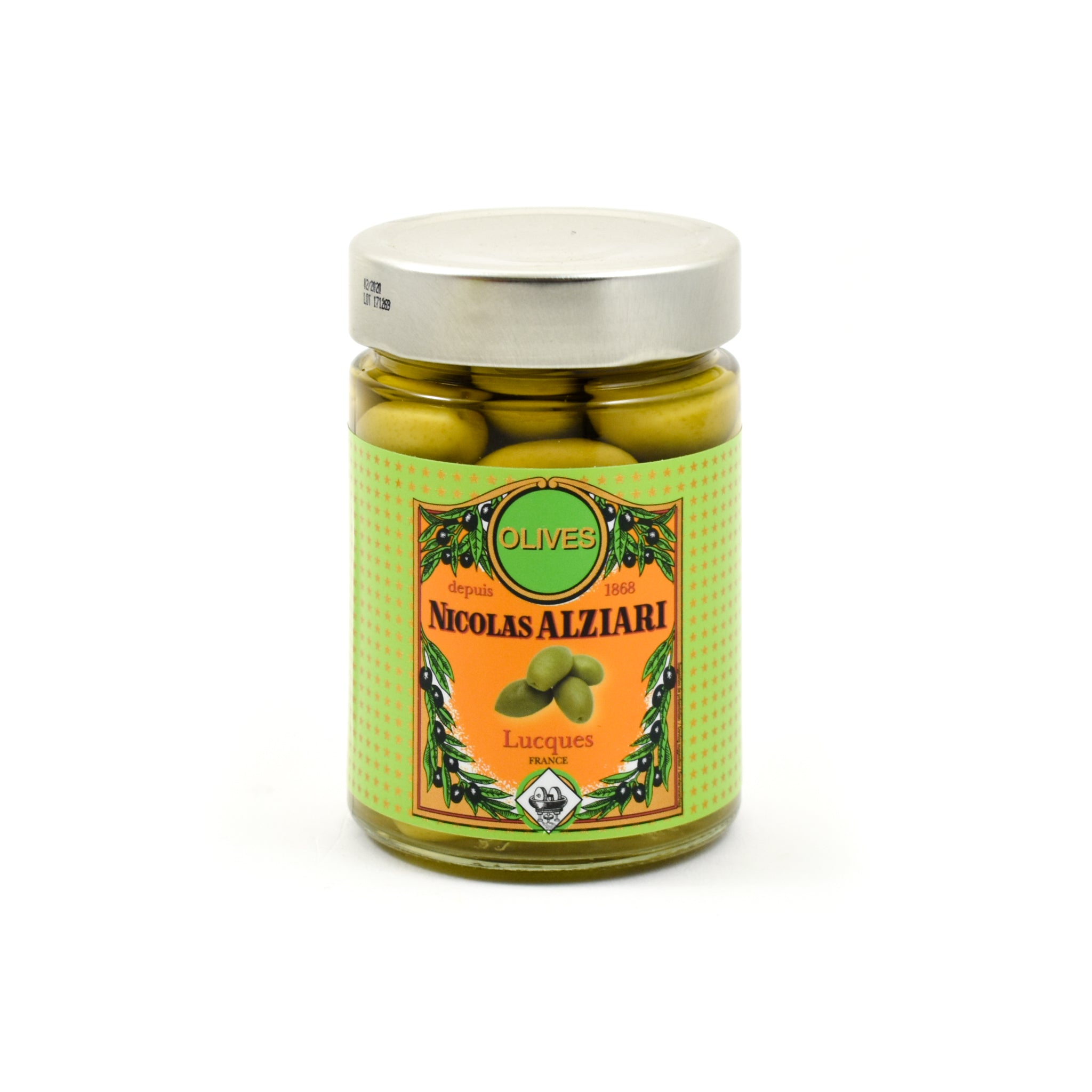 Nicolas Alziari Green Lucques Olives 220g Ingredients Savoury Snacks & Crackers French Food