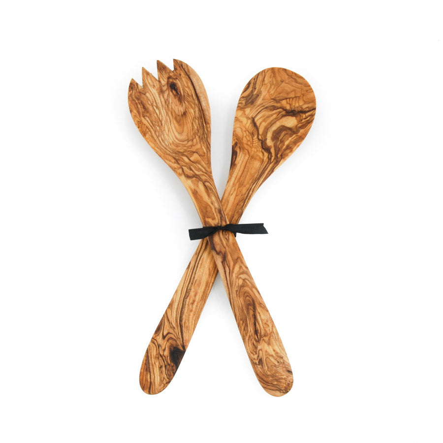 Naturally Med Olive Wood Salad Server Set 30cm Tableware Wooden Boards & Chopping Boards