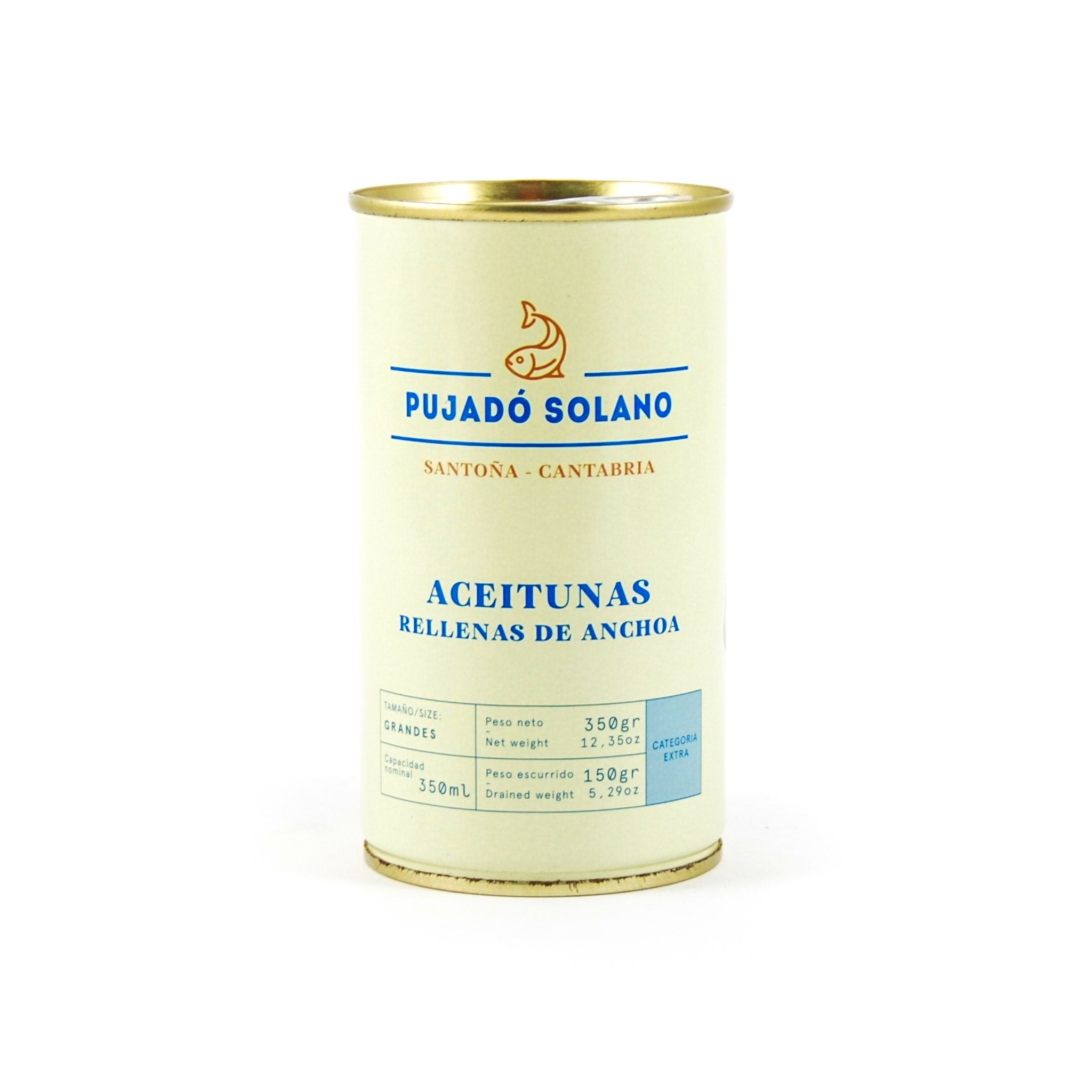 Pujado Solano Manzanilla Olives With Anchovy 350g Ingredients Savoury Snacks & Crackers Spanish Food