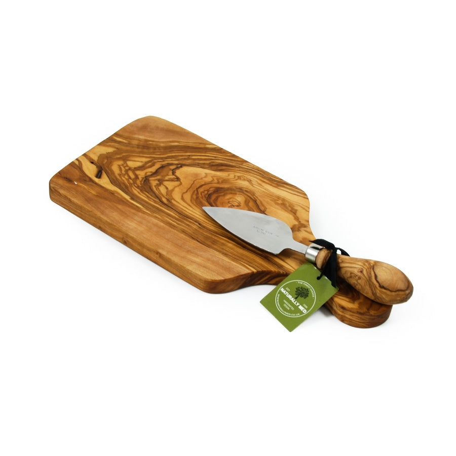 Olive Wood Cheese Board Set