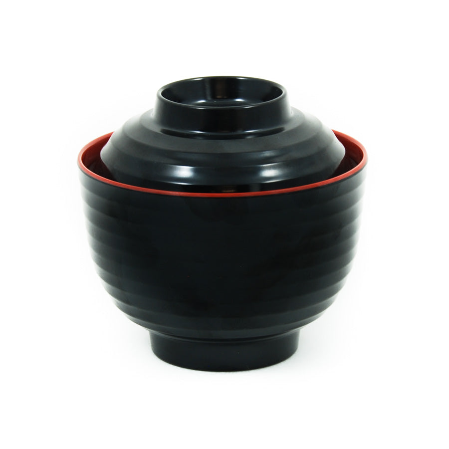R&B Melamine Red & Black Miso Soup Bowl Tableware Outdoor Tableware Chinese Food