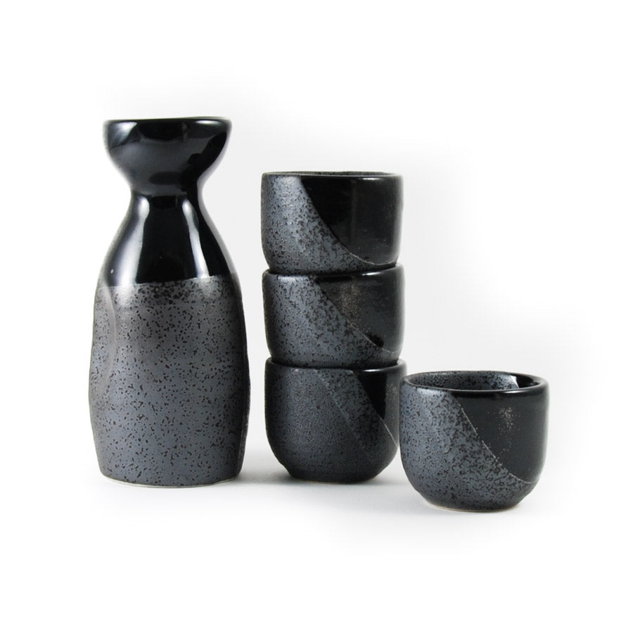 Kiji Stoneware & Ceramics Black Sake Set Tableware Japanese Tableware Japanese Food