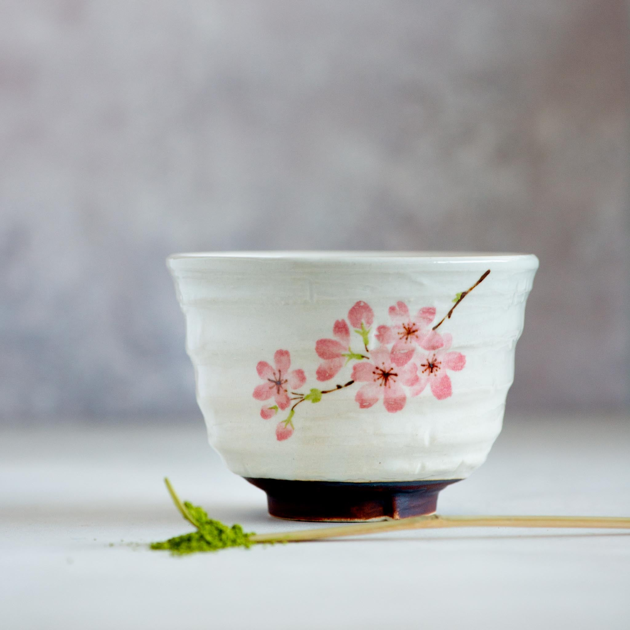 Kiji Stoneware & Ceramics Sakura Blossom Matcha Bowl Tableware Japanese Tableware Japanese Food