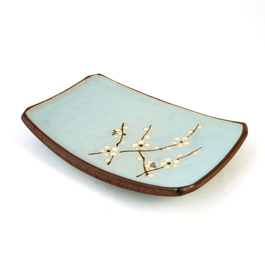 Kiji Stoneware & Ceramics Sakura Blossom Side Plate 19cm x 13cm Tableware Japanese Tableware Japanese Food