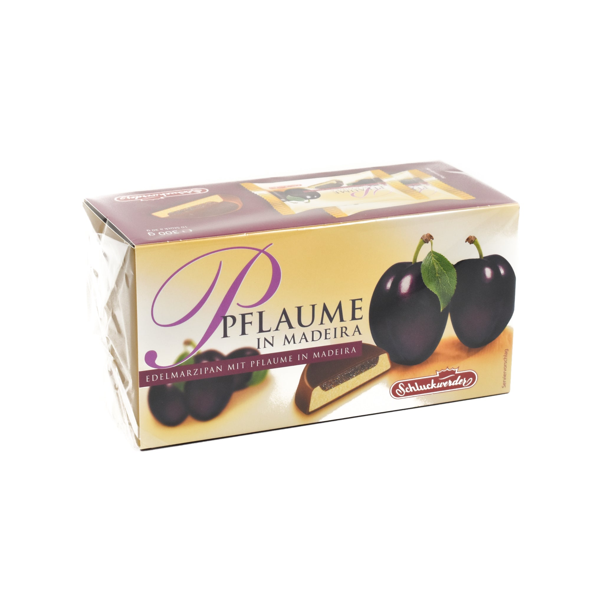 Schluckwerder Marzipan & Plum in Madeira 300g Ingredients Chocolate Bars & Confectionery German Food
