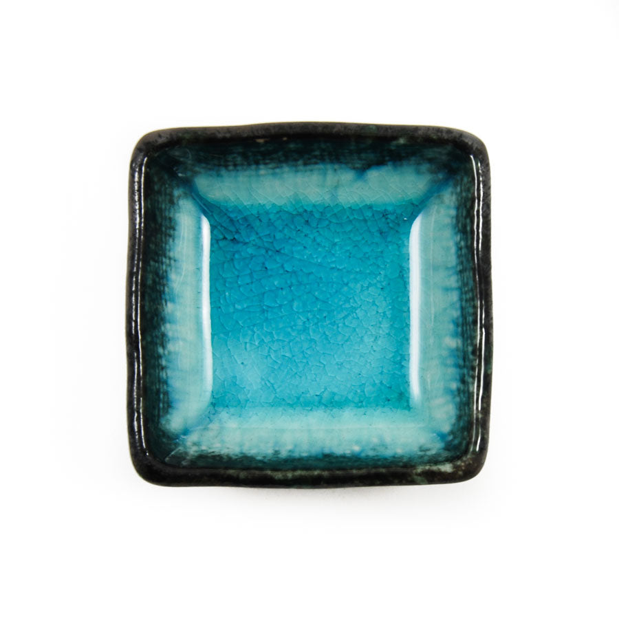 Kiji Stoneware & Ceramics Square Turquoise Dipping Bowl 7cm Tableware Japanese Tableware Japanese Food