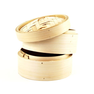 2-Tier Bamboo Steamer With Lid