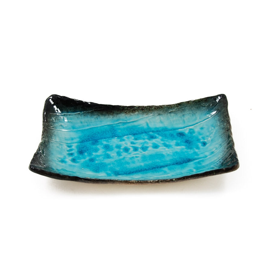 Kiji Stoneware & Ceramics Turquoise Crackle Glaze Platter Tableware Japanese Tableware Japanese Food