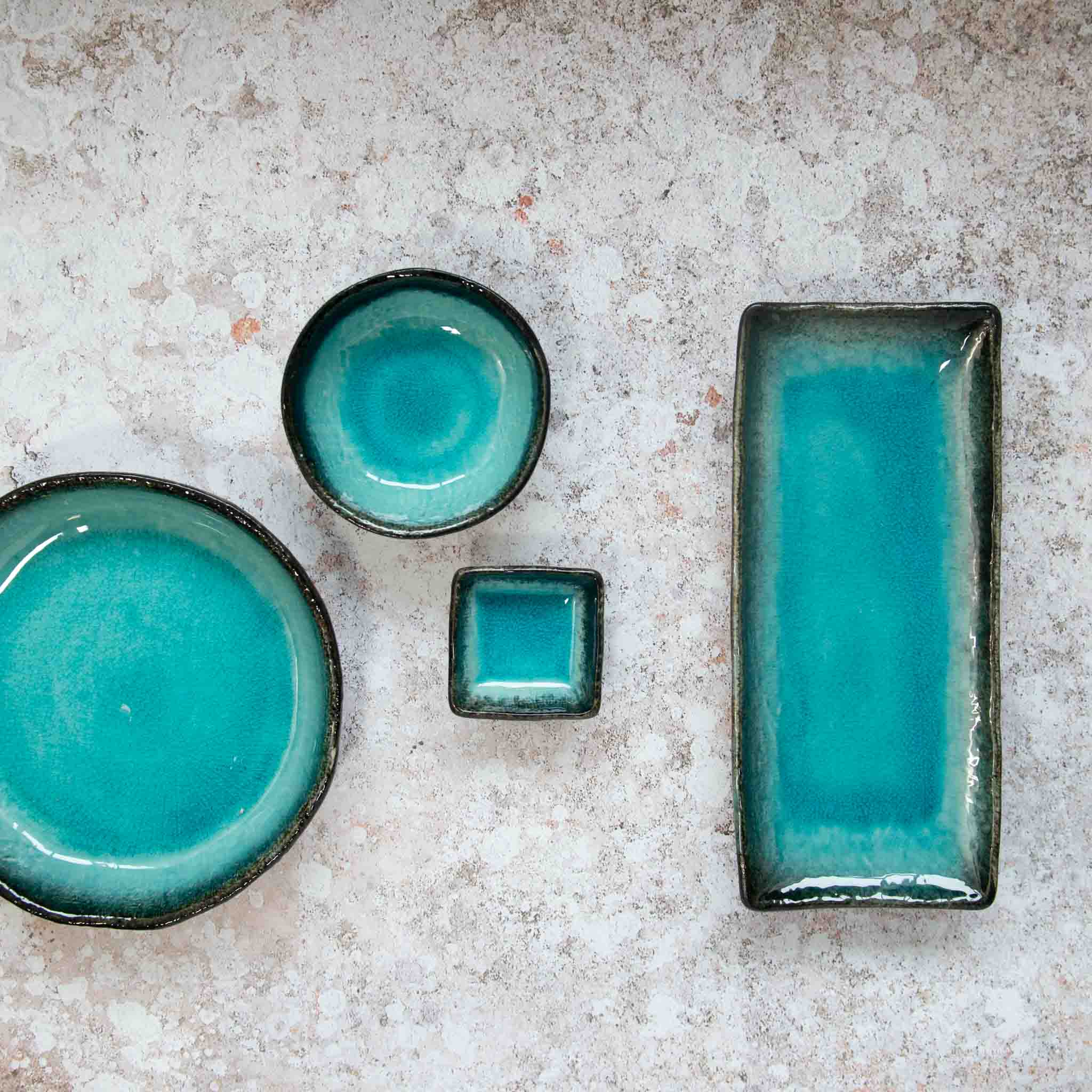 Kiji Stoneware & Ceramics Oblong Turquoise Platter Tableware Japanese Tableware Japanese Food