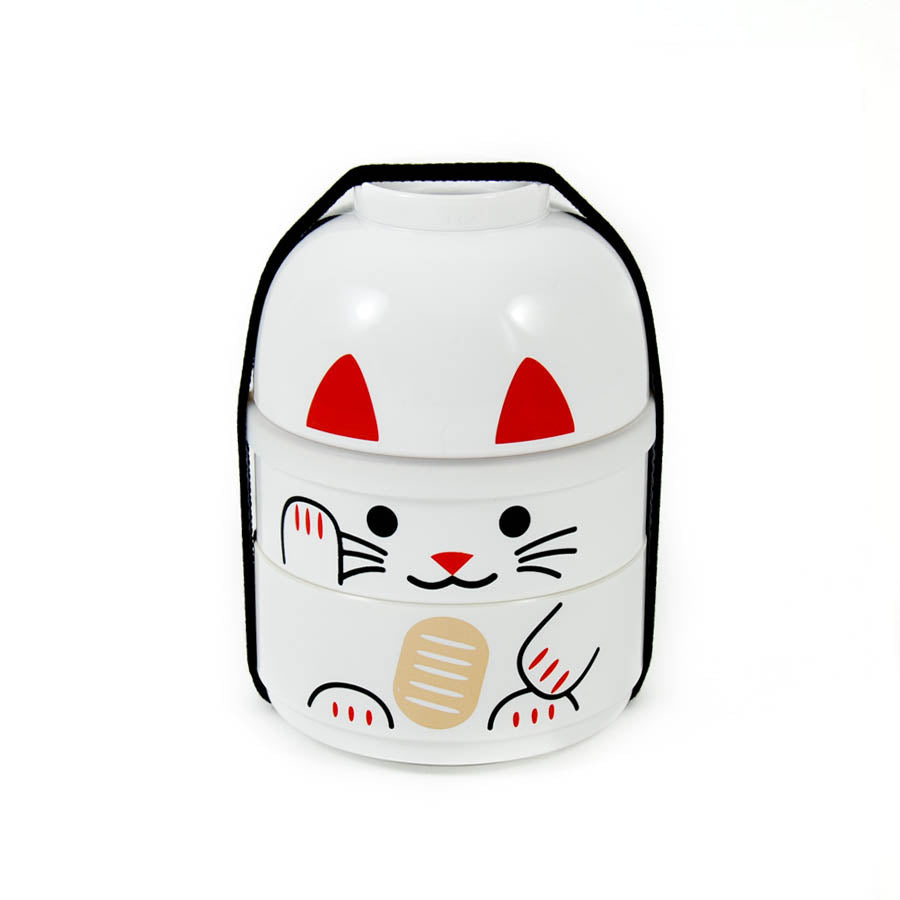Hakoya White Manekineko Bento Box 640ml Cookware Japanese Food