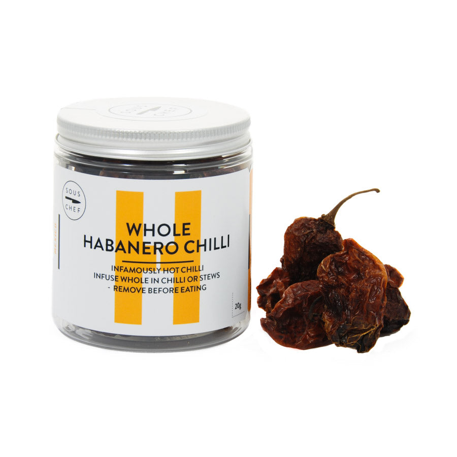 Sous Chef Whole Habanero Chilli 20g Ingredients Herbs & Spices Dried Chillies Mexican Food