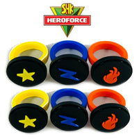 SuperHero Kids Power Rings: 2 SETS of 3 HeroForce SuperPower Rings: Fire, Electricity, and Light