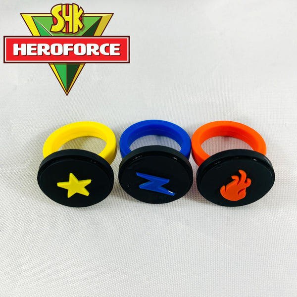 Set of 3 HeroForce Power Rings: Fire, Electricity, and Light