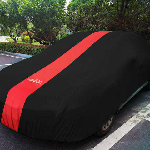 Racecar, Showcar, Muscle Car or Streeter INDOOR Car Cover Black with Red Stripe