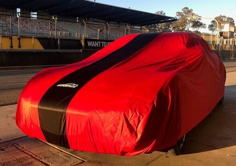 Racecar, Showcar, Muscle Car or Streeter INDOOR Car Cover Small RED with BLACK Stripe