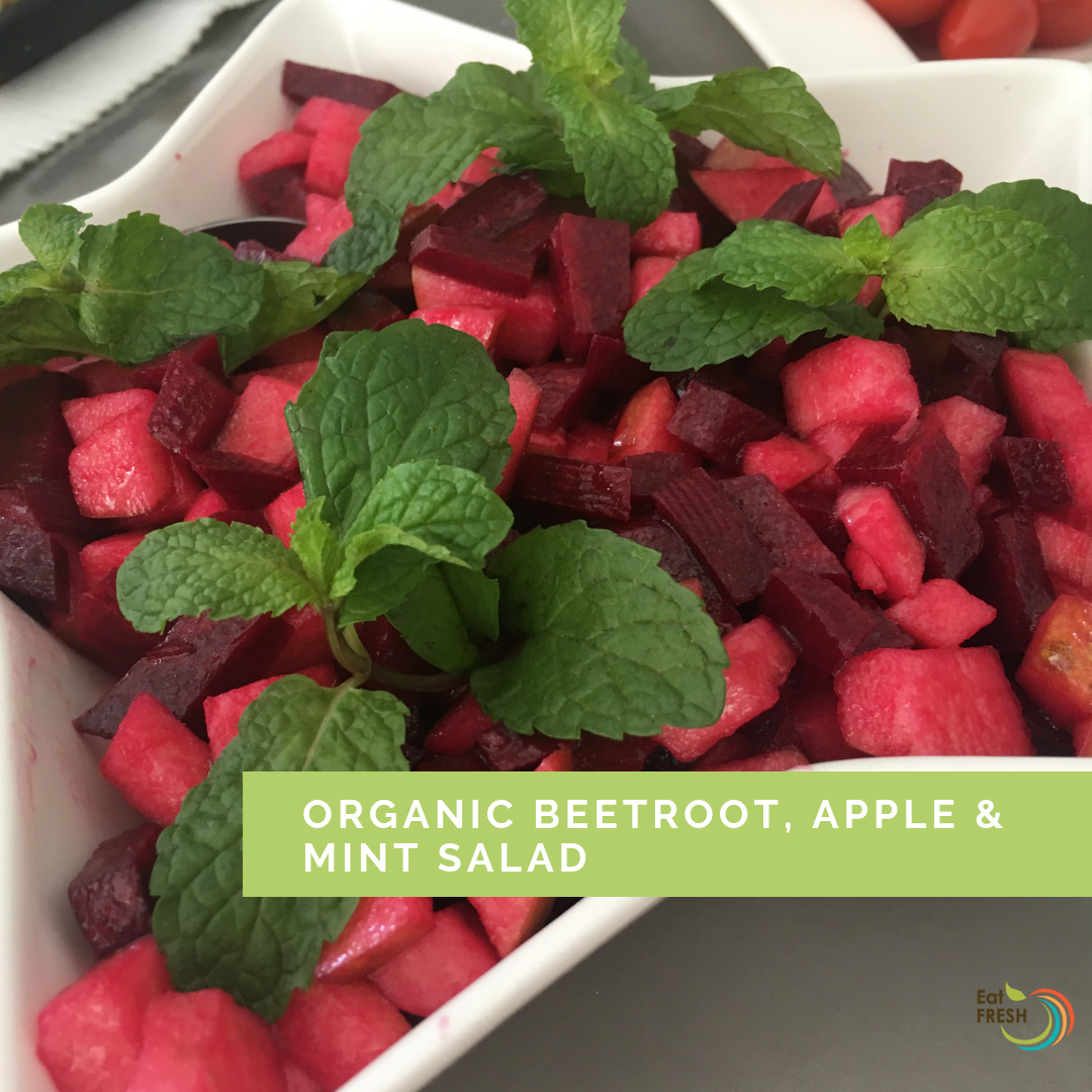 Organic beetroot, apple & mint salad