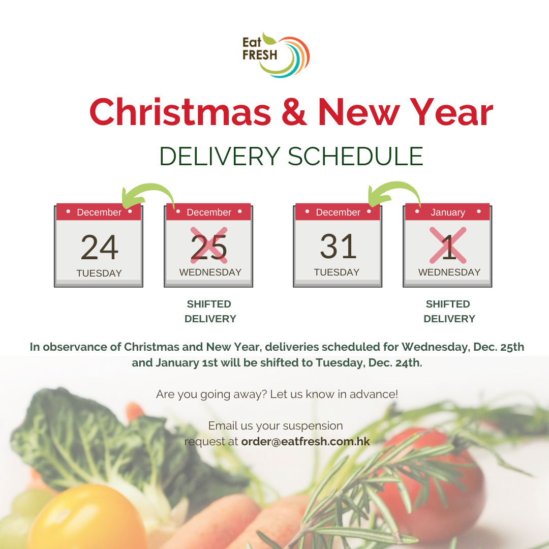 Christmas & New Year - Delivery Schedule