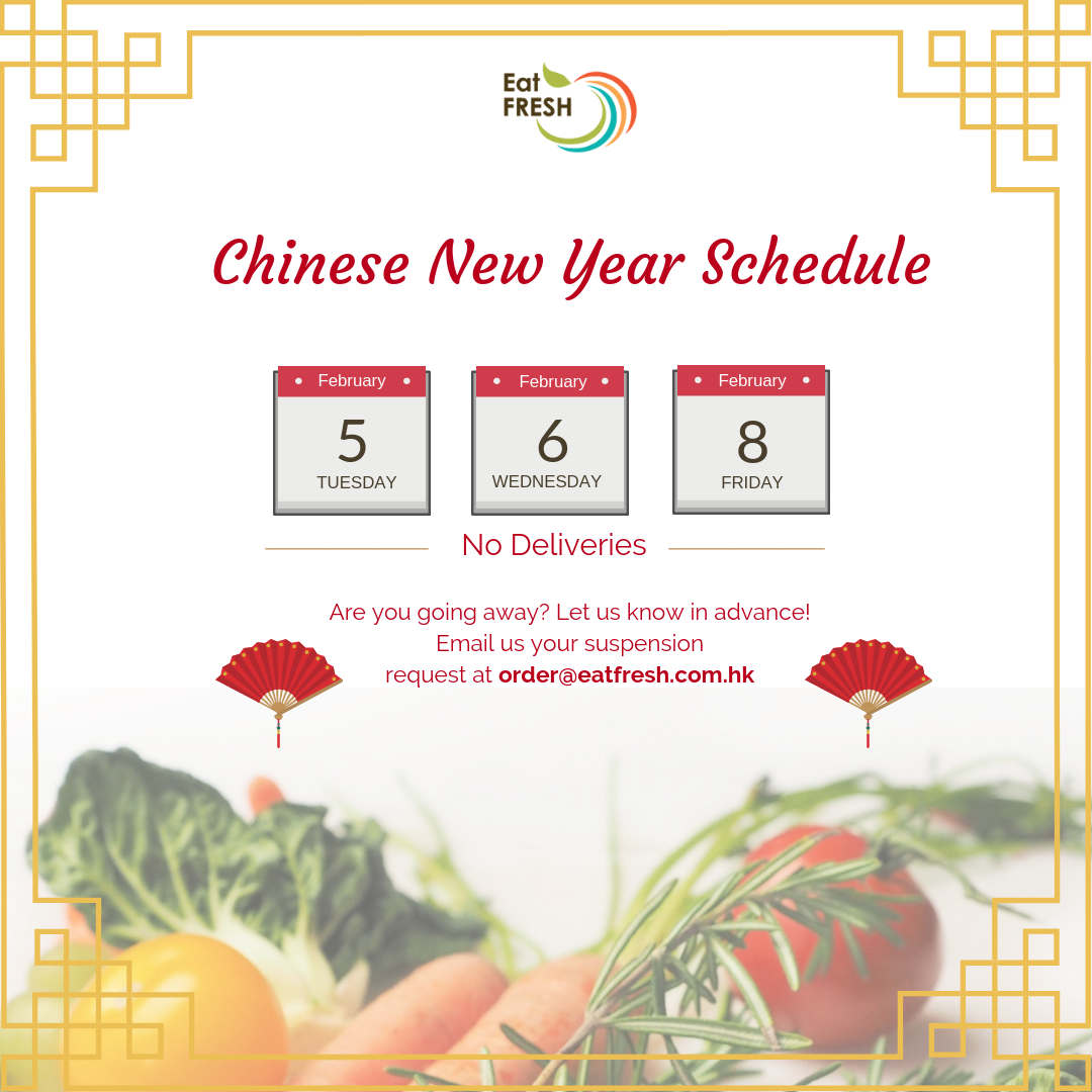 Chinese New Year Delivery Schedule