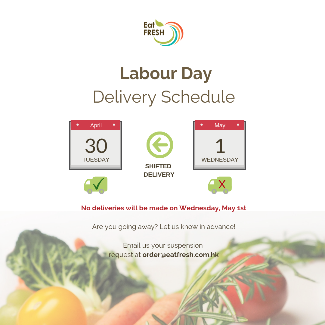 No Delivery on Wednesday, May 1st