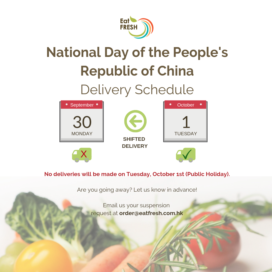 National Day of the People's Republic of China - Delivery Schedule