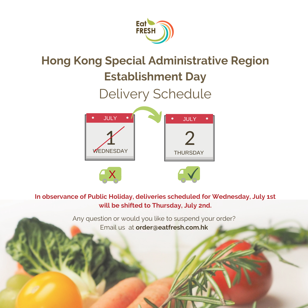 Delivery Schedule - HKSAR Establishment Day (public holiday)