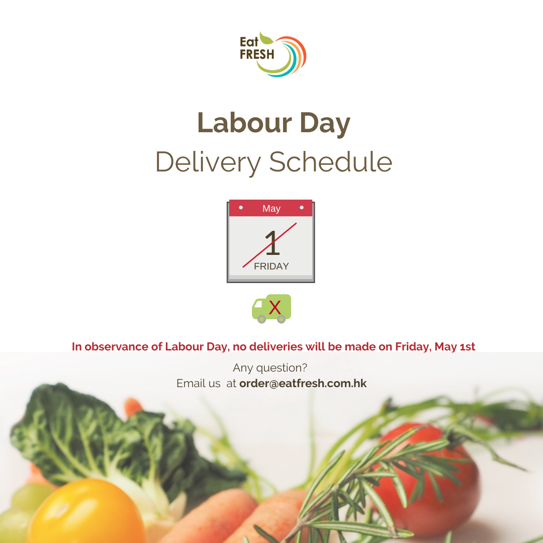 Labour Day - No deliveries on May 1st