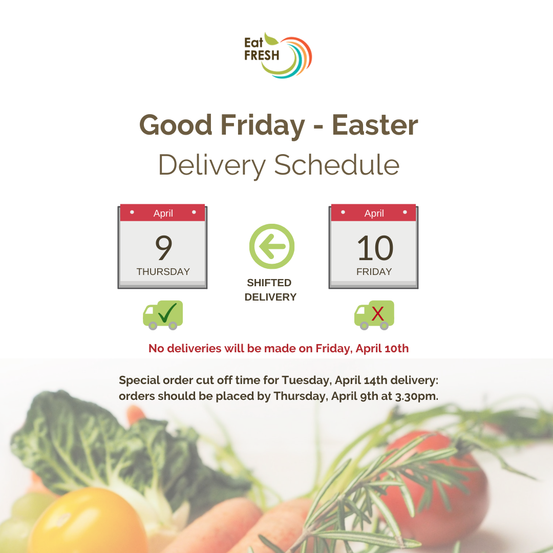 No delivery on Friday, April 10th